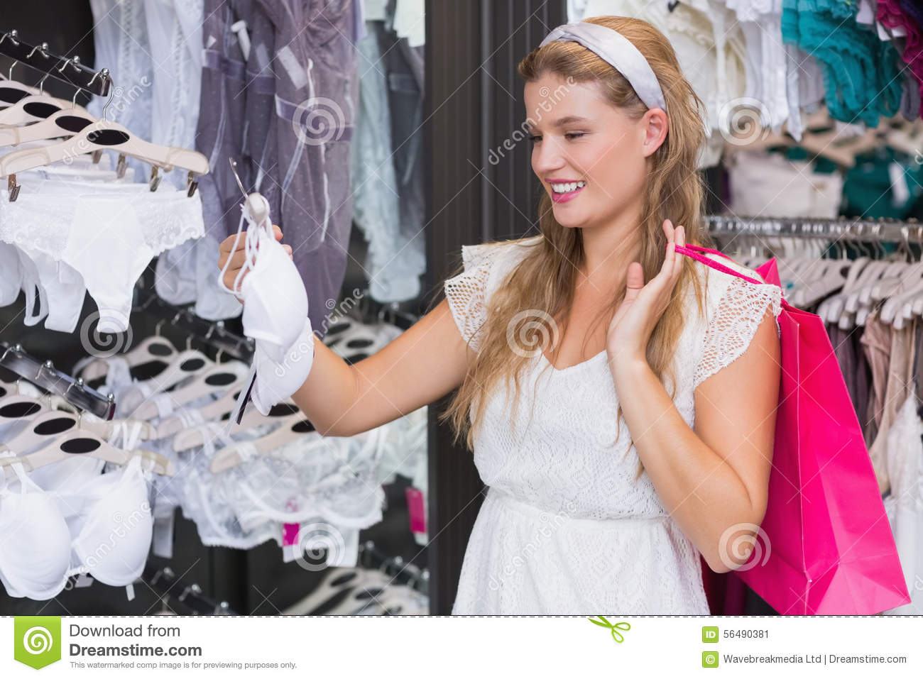 Pretty Woman Buying Lingerie Stock Photo - Image: 56490381