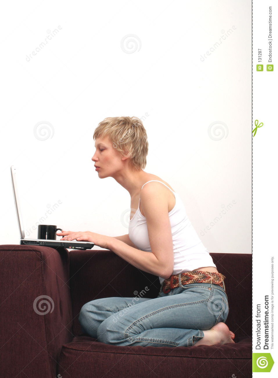 Pretty woman checking message on her laptop 1