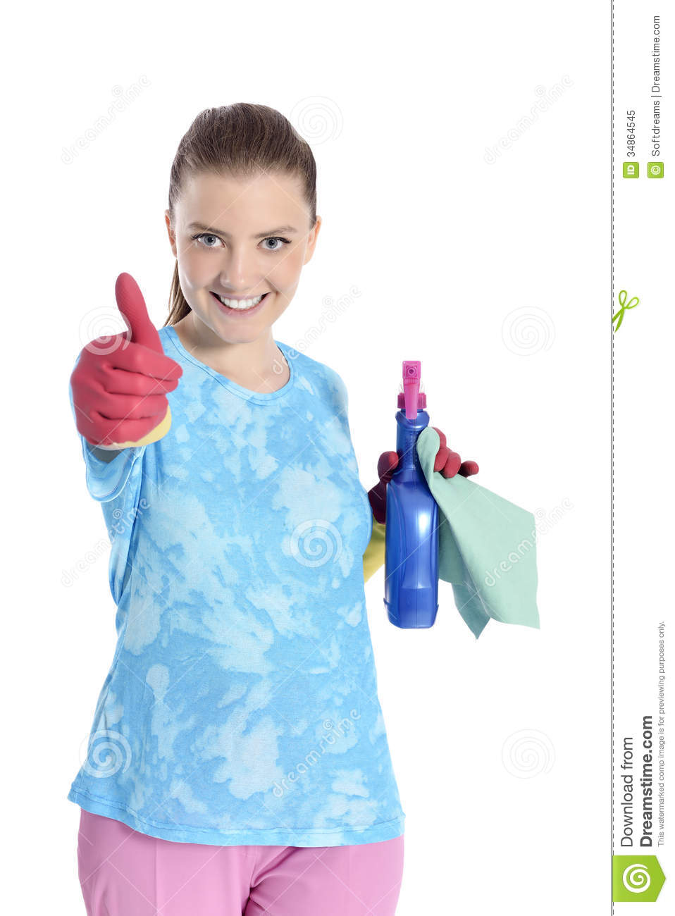 pretty woman cleaning royalty free stock photo