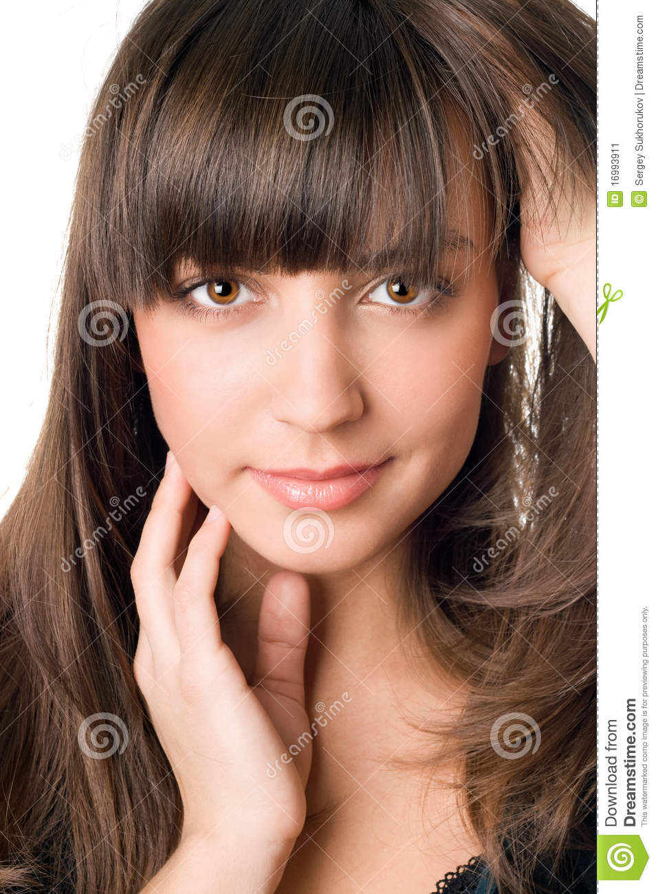 ... Woman With Dark Hair And Brown Eyes Stock Image - Image: 16993911