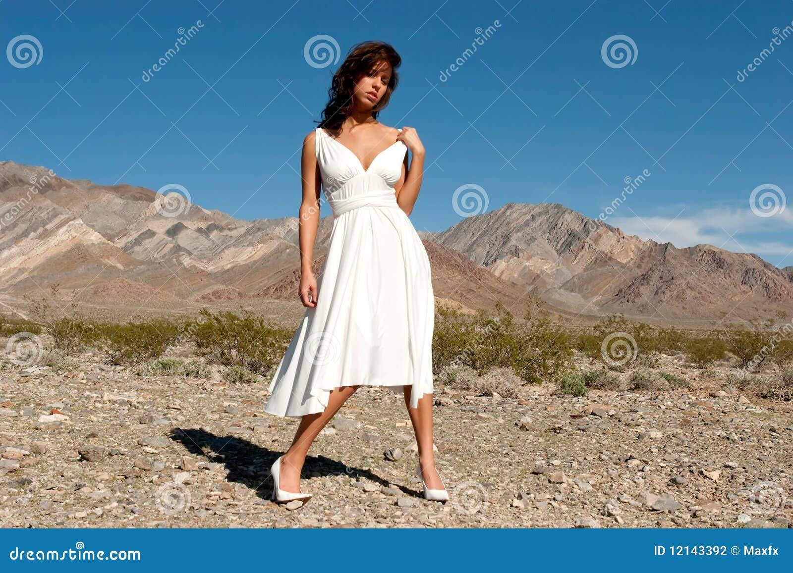 Pretty woman in desert