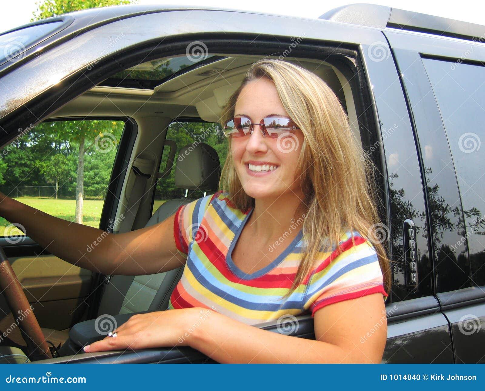 pretty woman driver stock photo   image 1014040