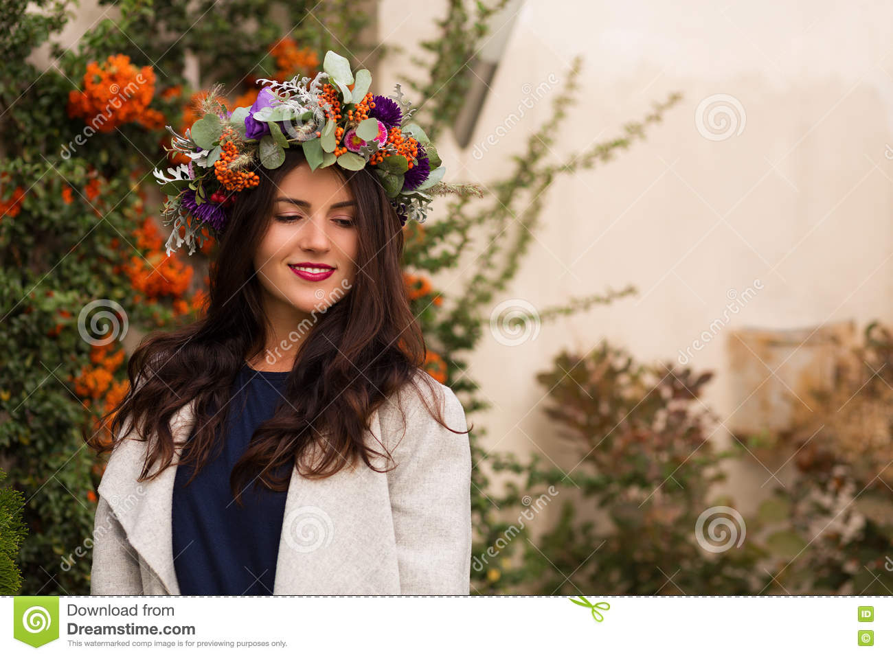 Pretty Woman In A Flower Crown Stock Photo Image Of Garden Chic