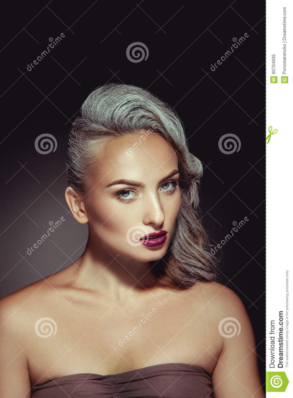 Pretty Woman With Grey Hair Color And Nice Beautiful Makeup Stock
