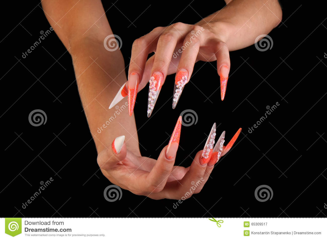 Pretty Woman Hand With Perfect Painted Nails On Black Background