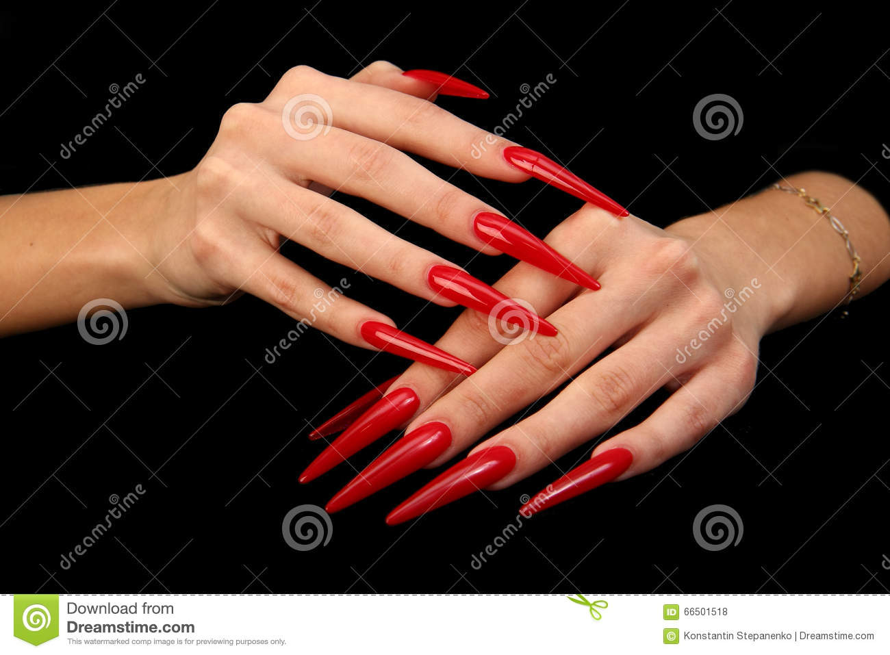 Download Pretty Woman Hand With Perfect Painted Nails Isolated On Black Background Stock Photo