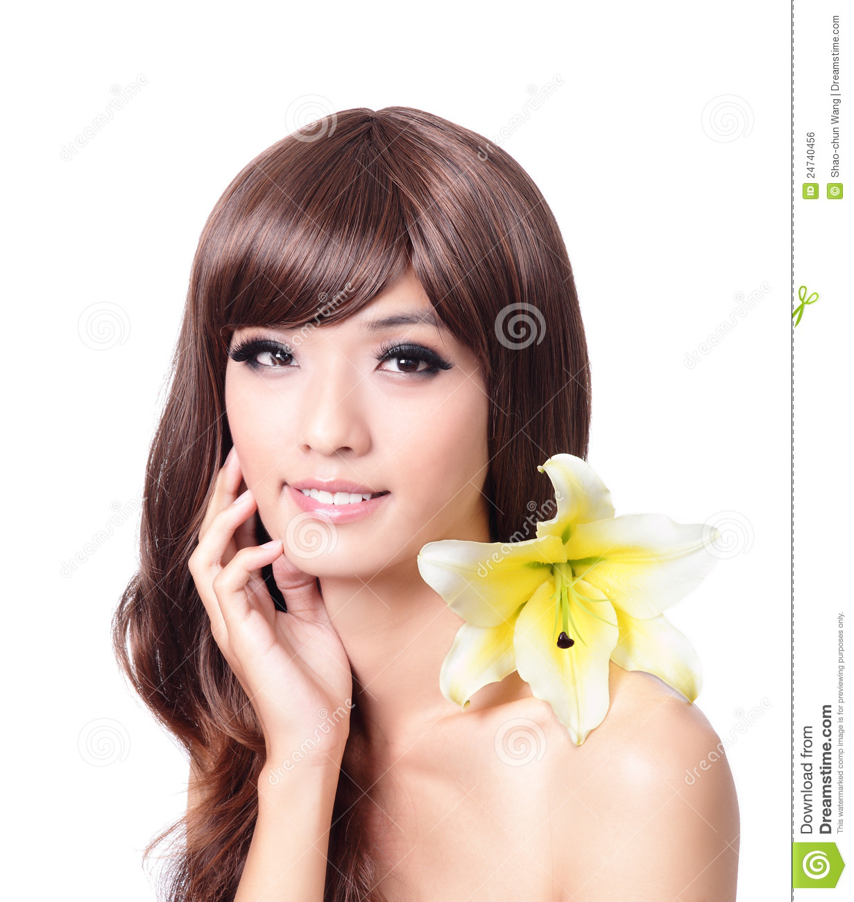 Pretty woman <b>hand touch</b> face with smile - pretty-woman-hand-touch-face-smile-24740456