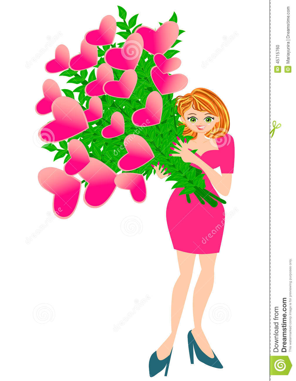 Pretty woman holding heart flower