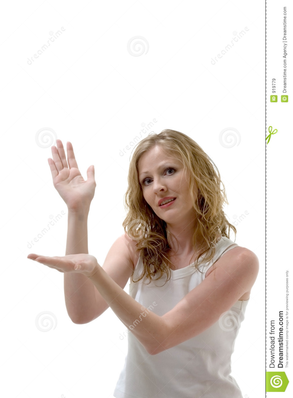 Pretty woman holding imaginary product