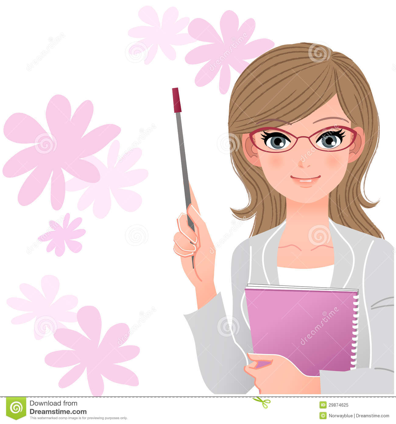 Cute Lecturer Holding Pointer Stick On Flower Background Royalty Free ...