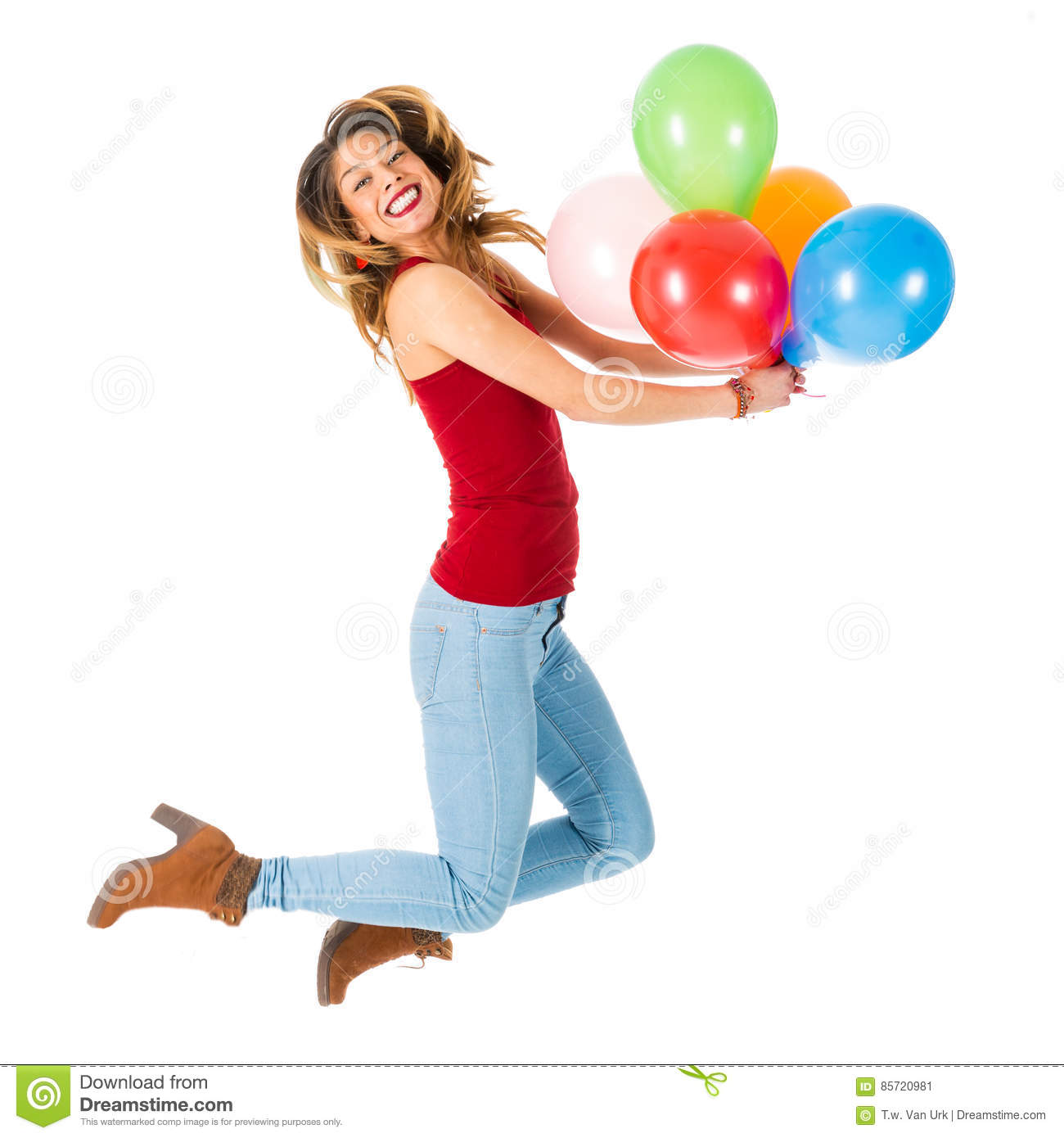 Pretty woman jumping with olorful balloons isolated on white background