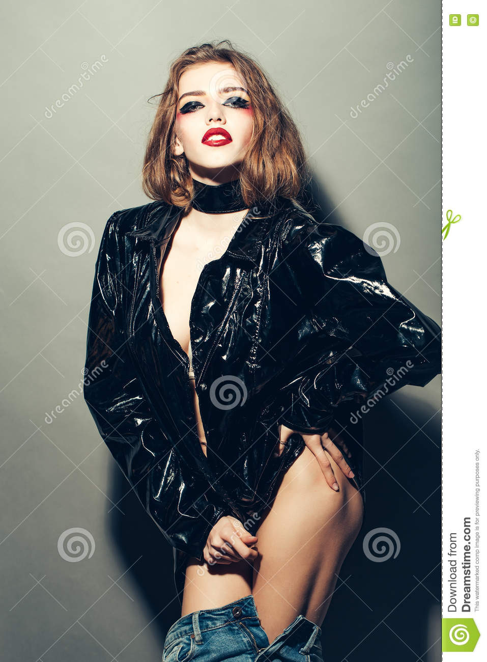 Pretty Woman In Leather Jacket Stock Photo - Image: 72641897