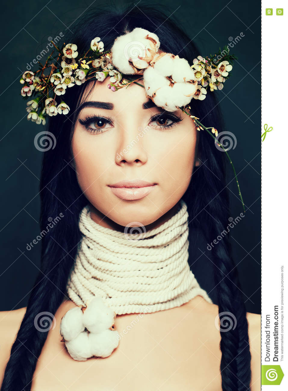 Pretty Woman with Long Black Hair and Flowers Crown. Ethnic Beau