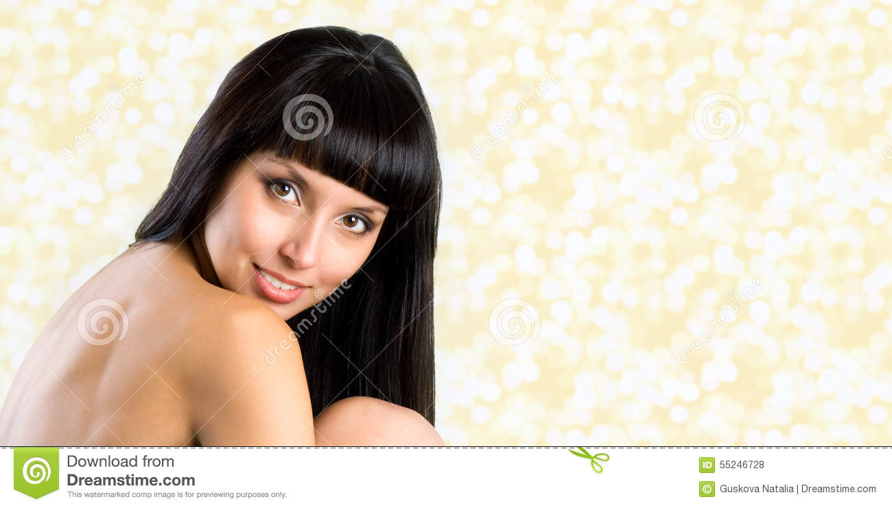 Pretty Woman With Long Straight Black Hair Looking At