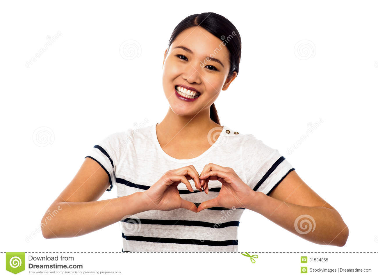 Pretty Woman Making Heart Symbol With Hands Stock Image Image Of