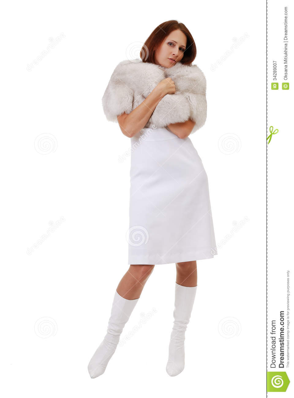Pretty Woman Muffled In Furs Royalty Free Stock Photography ...