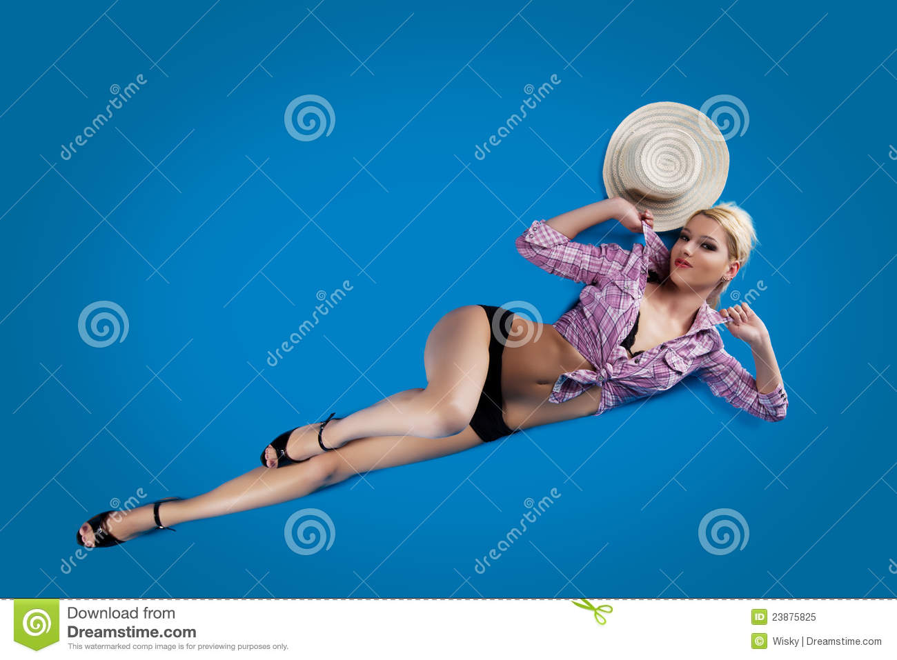 Pretty woman pin-up style lay on blue background
