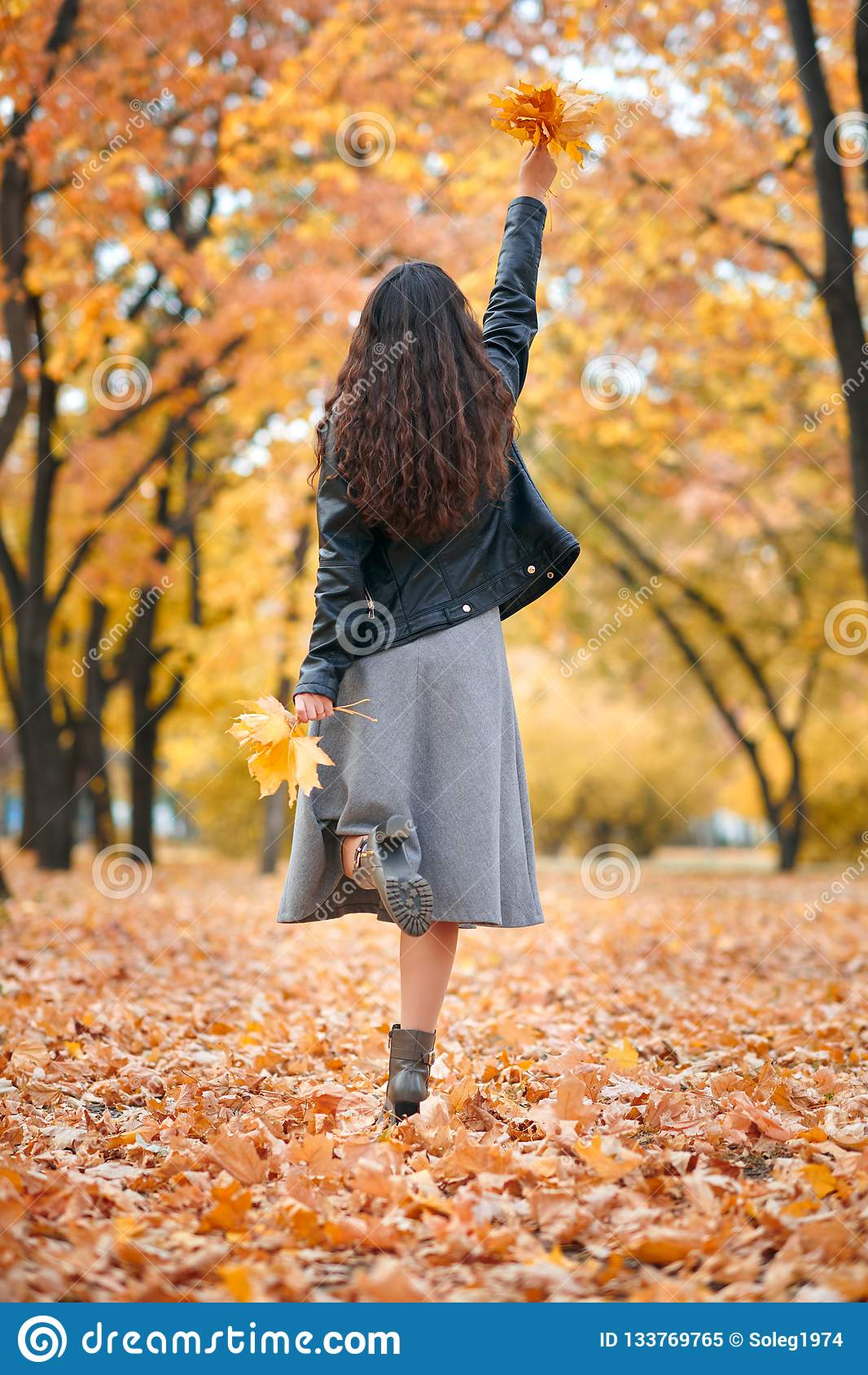 Pretty woman posing with bunch of maple`s leaves in autumn park. Beautiful landscape at fall season