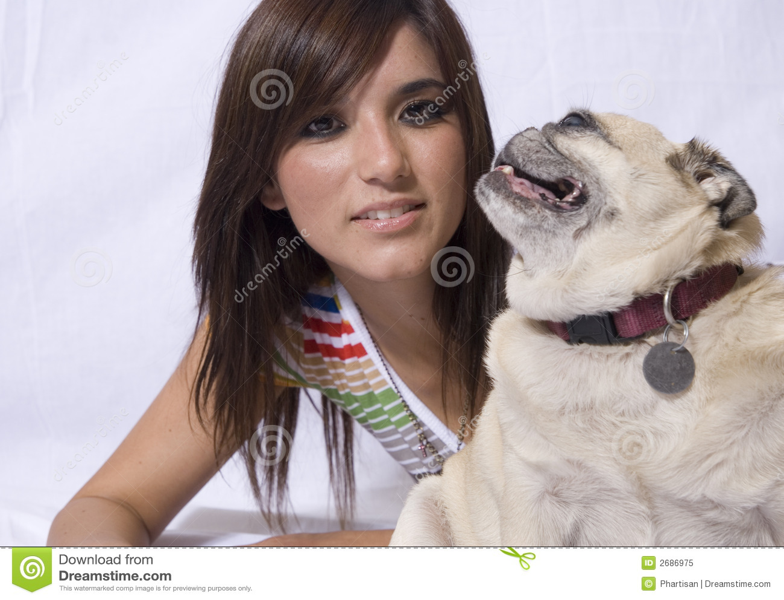 Pretty woman with pug dog