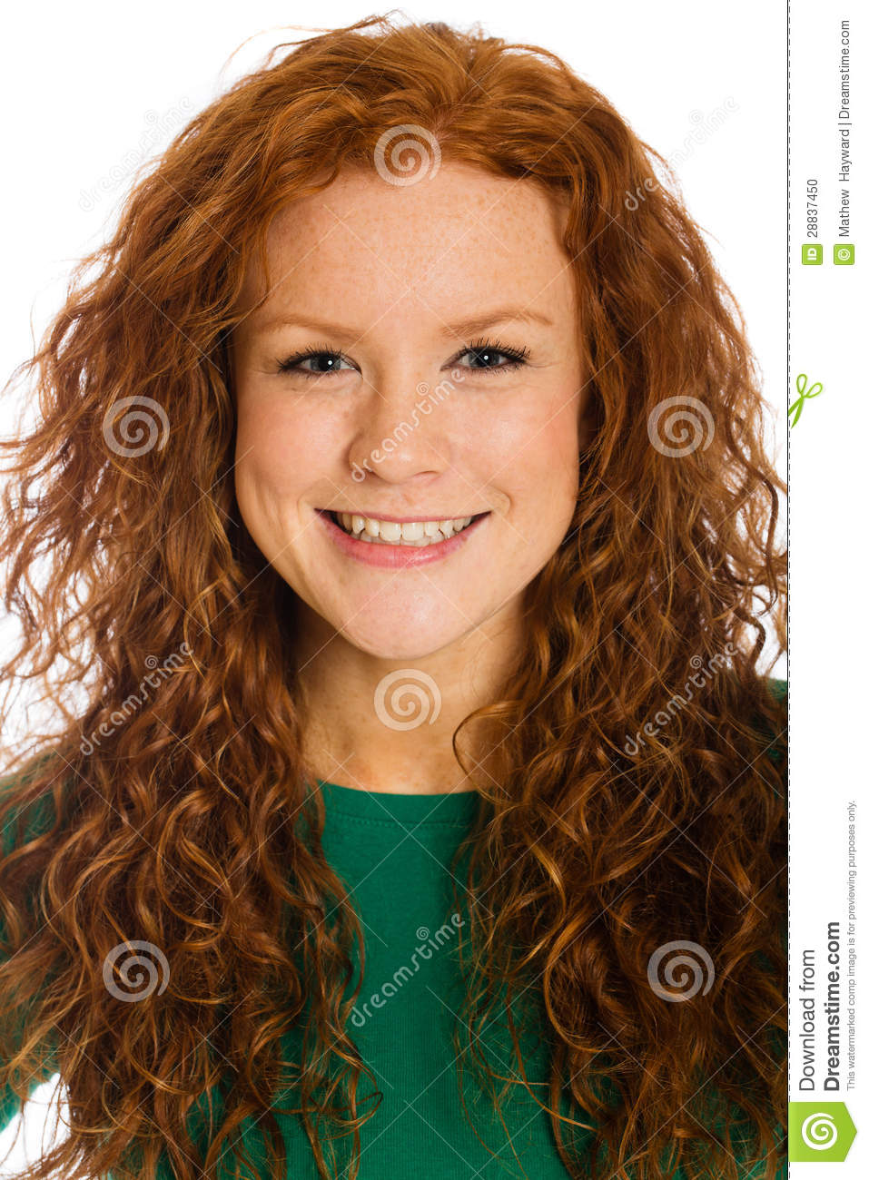 Pretty Woman With Red Hair And Freckles Stock Photo