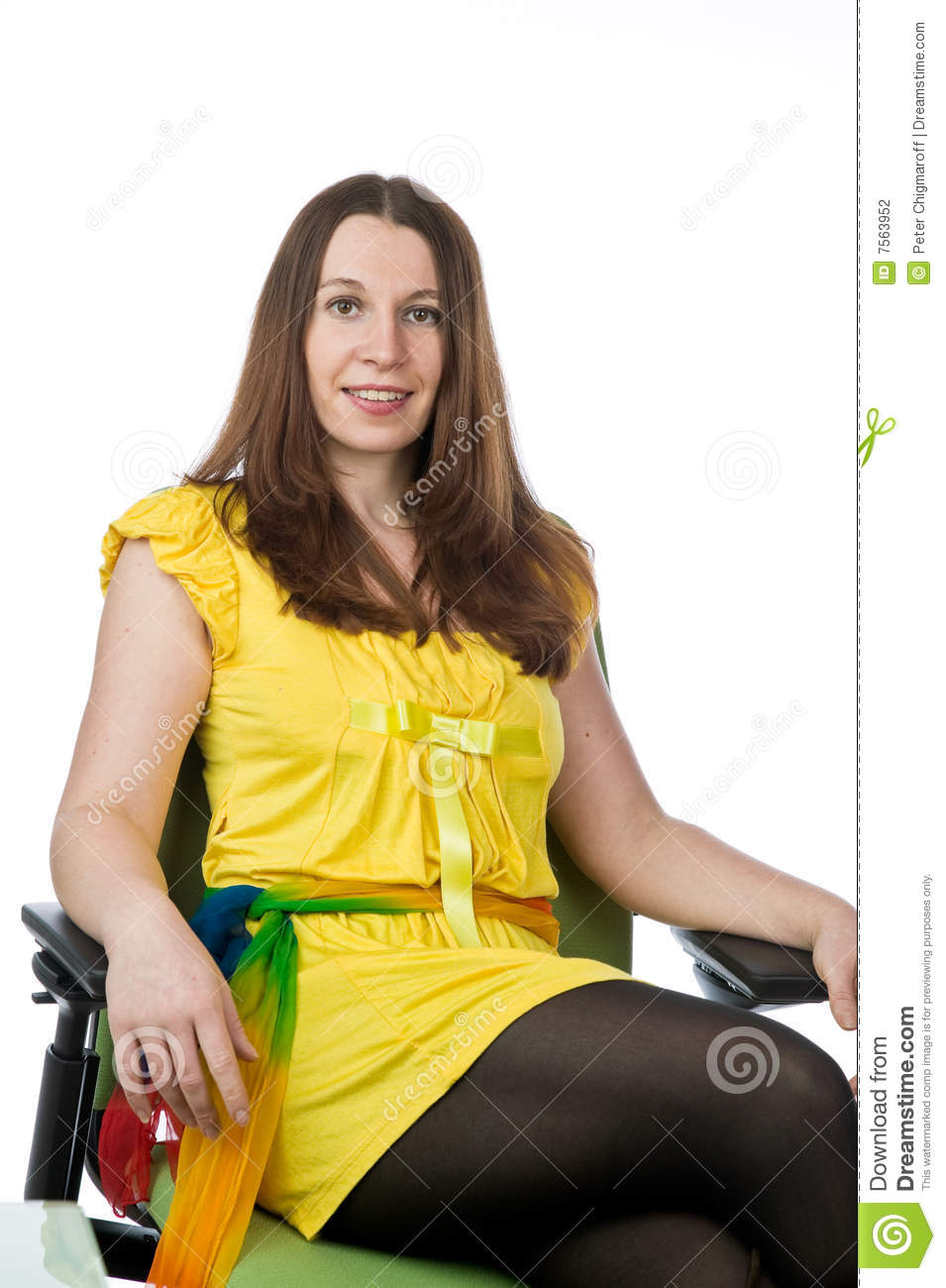 Pretty woman sitting in an chair stock photography image 7563952