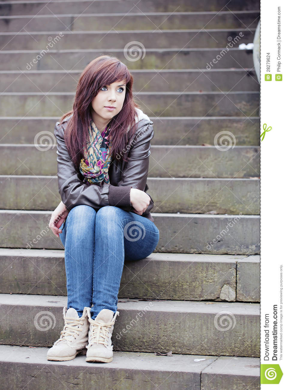 Pretty Woman Sitting On Steps Stock Images - Image: 28279624