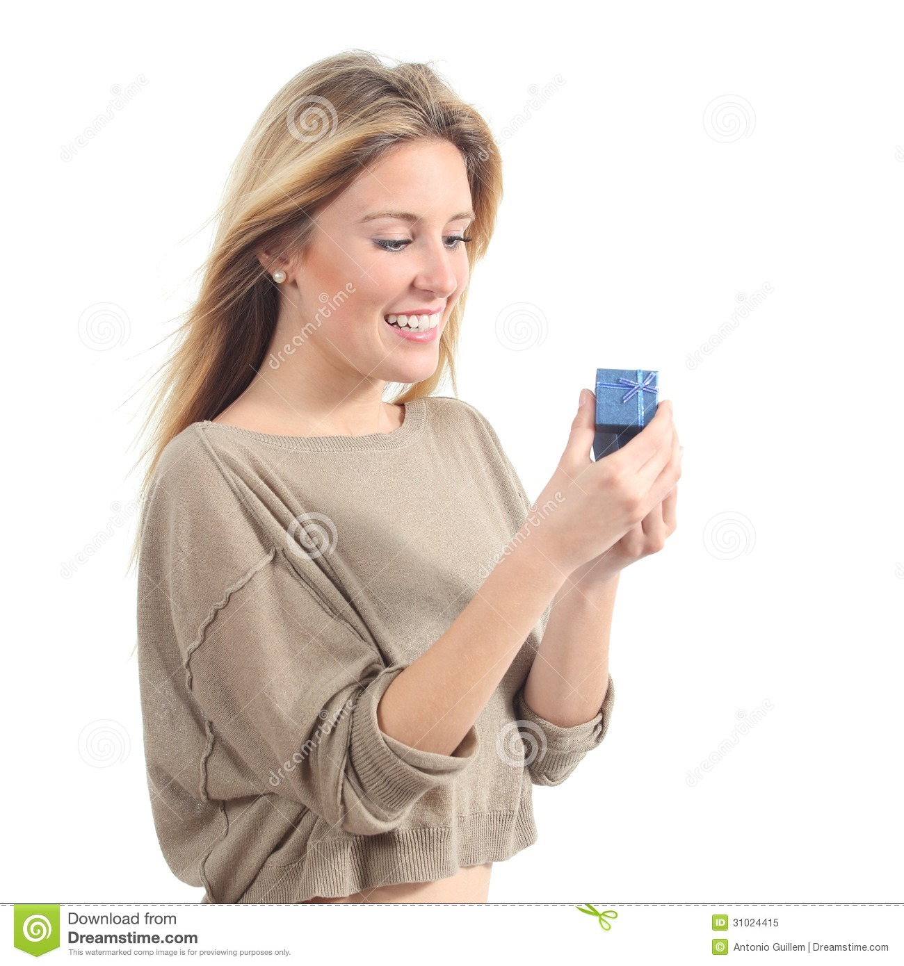 Pretty Woman Smiling And Opening A Gift Box Stock Image ...