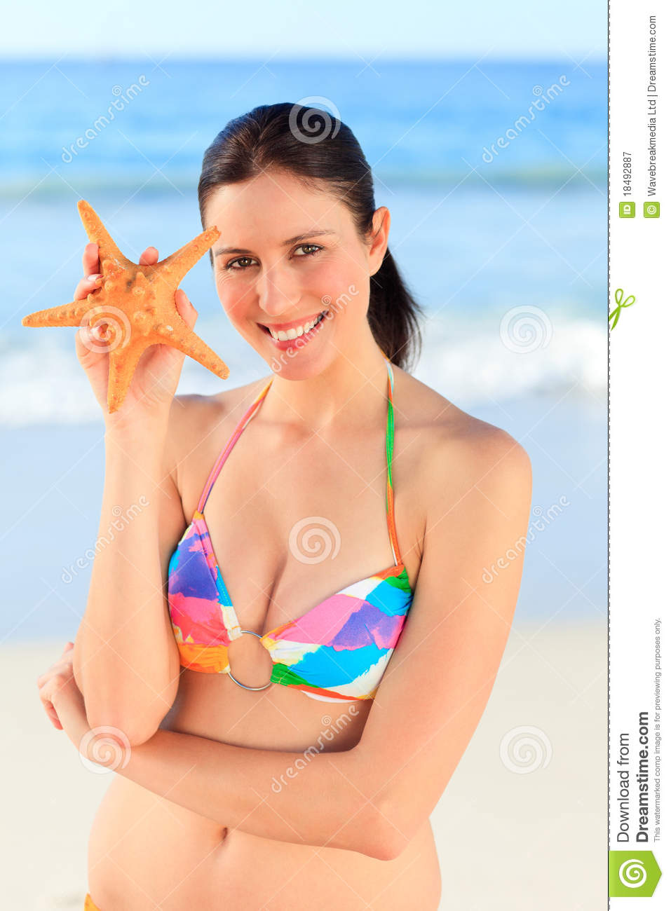 Pretty Woman With A Starfish Royalty Free Stock ...