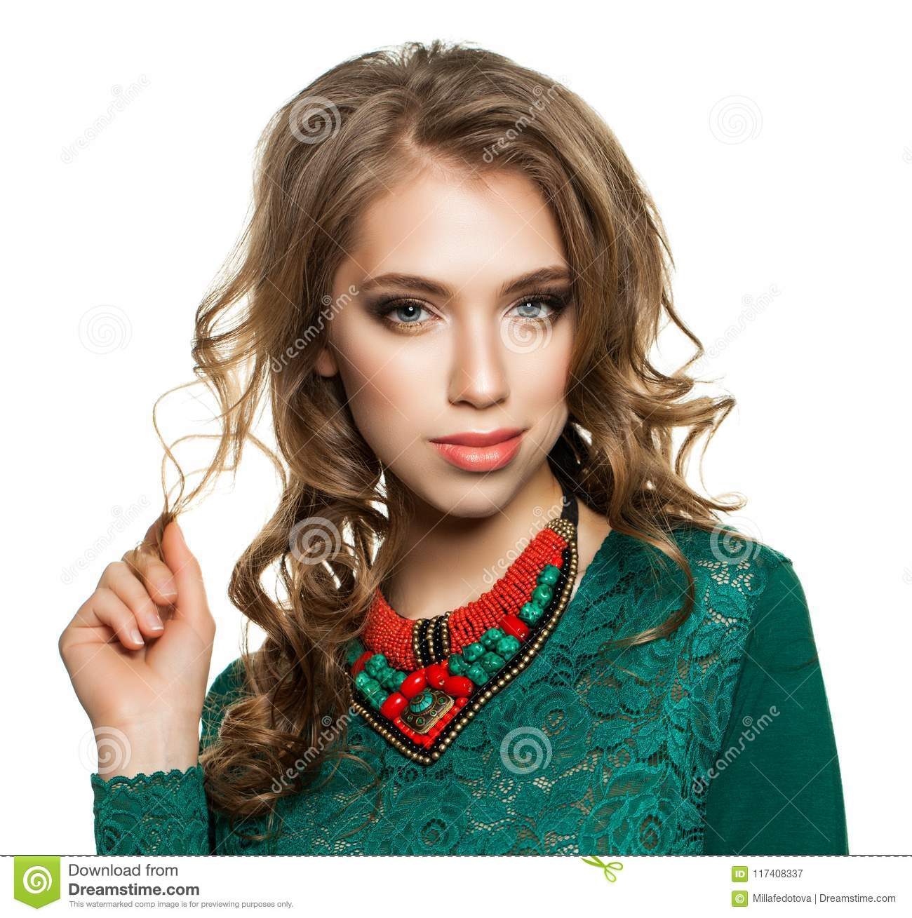 Pretty Woman Touching Her Hair By Her Hand Isolated Stock