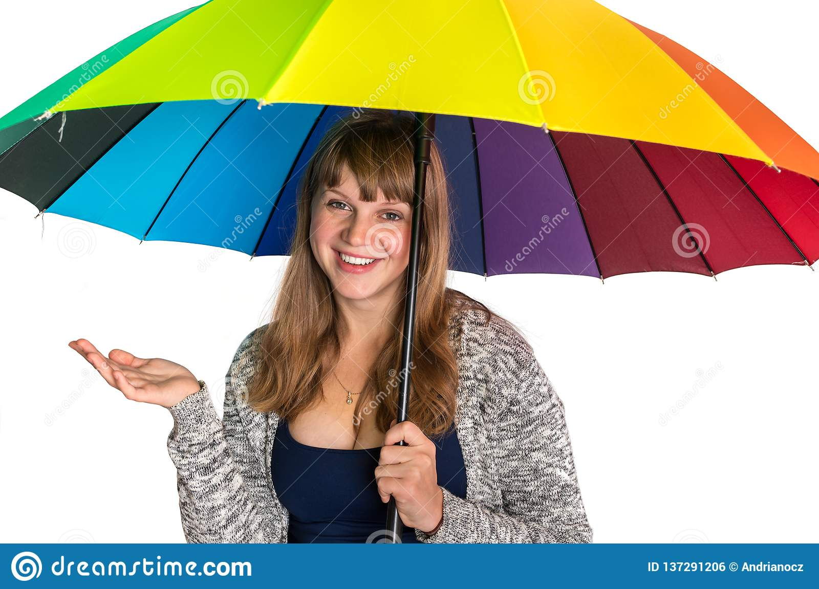 Pretty woman under colorful umbrella isolated on white