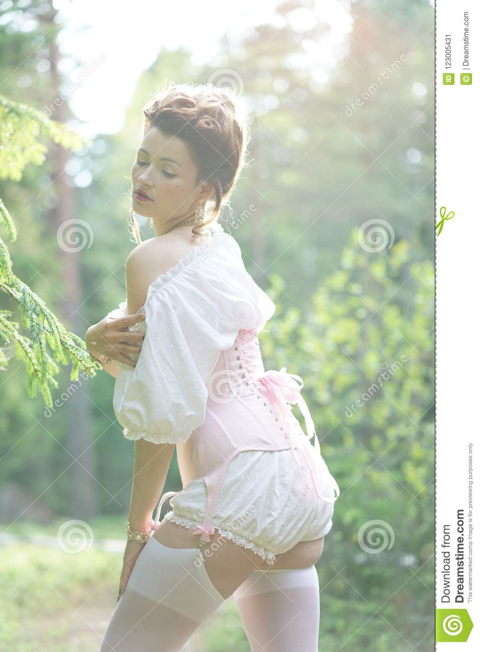113ff4aec Beautiful Young Chubby Girl Posing In Medieval Retro Corset And ...