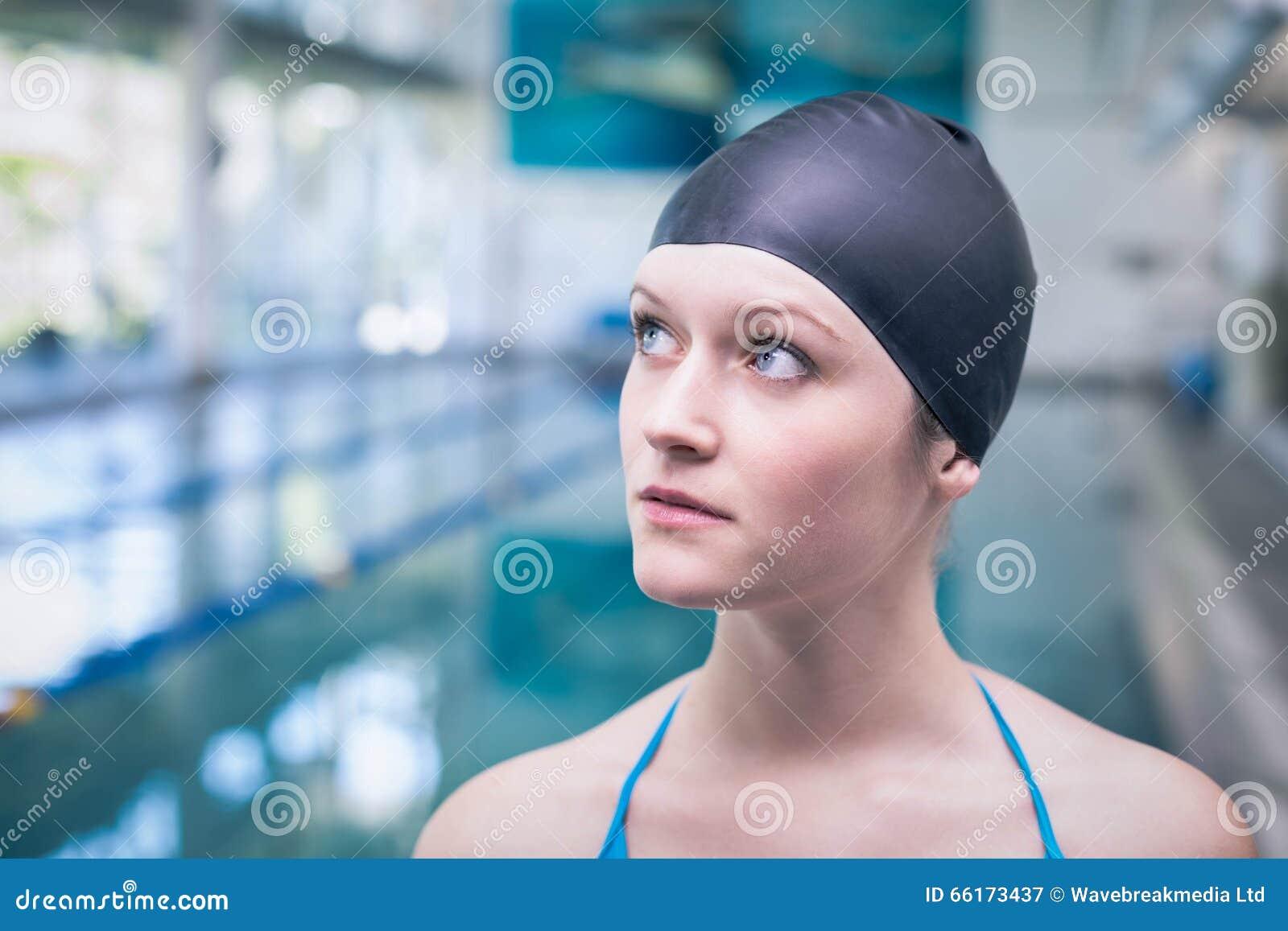 Pretty Woman Wearing Swim Cap Stock Image Image 66173437