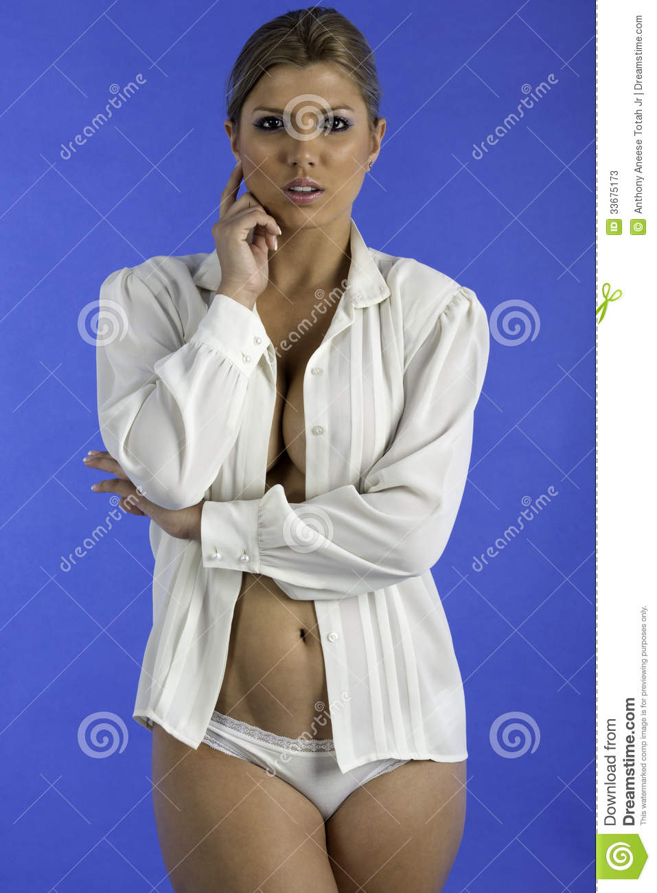 Pretty Woman Only Wearing A White Shirt. Stock Photos ...