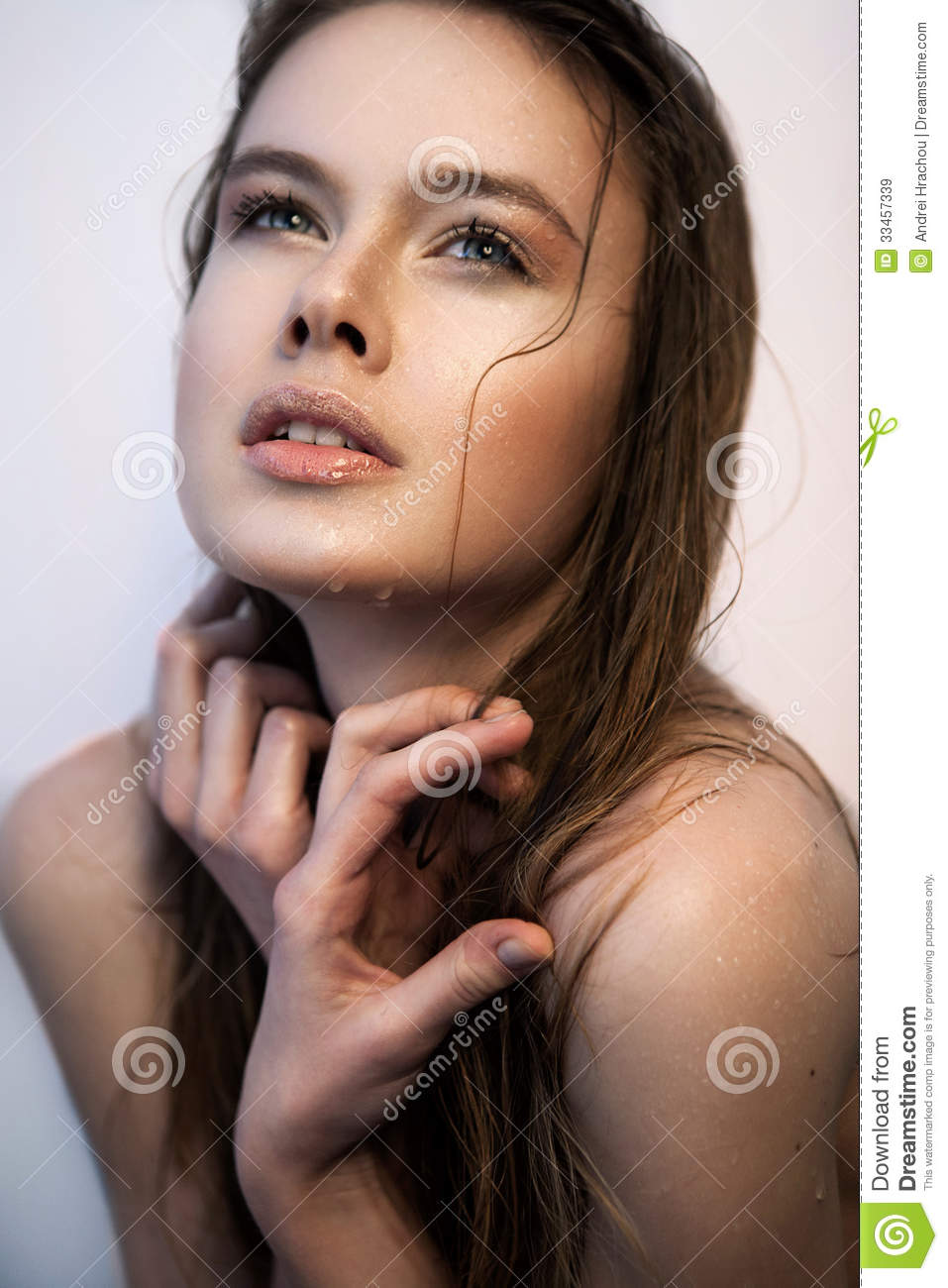 Teenage woman looking up