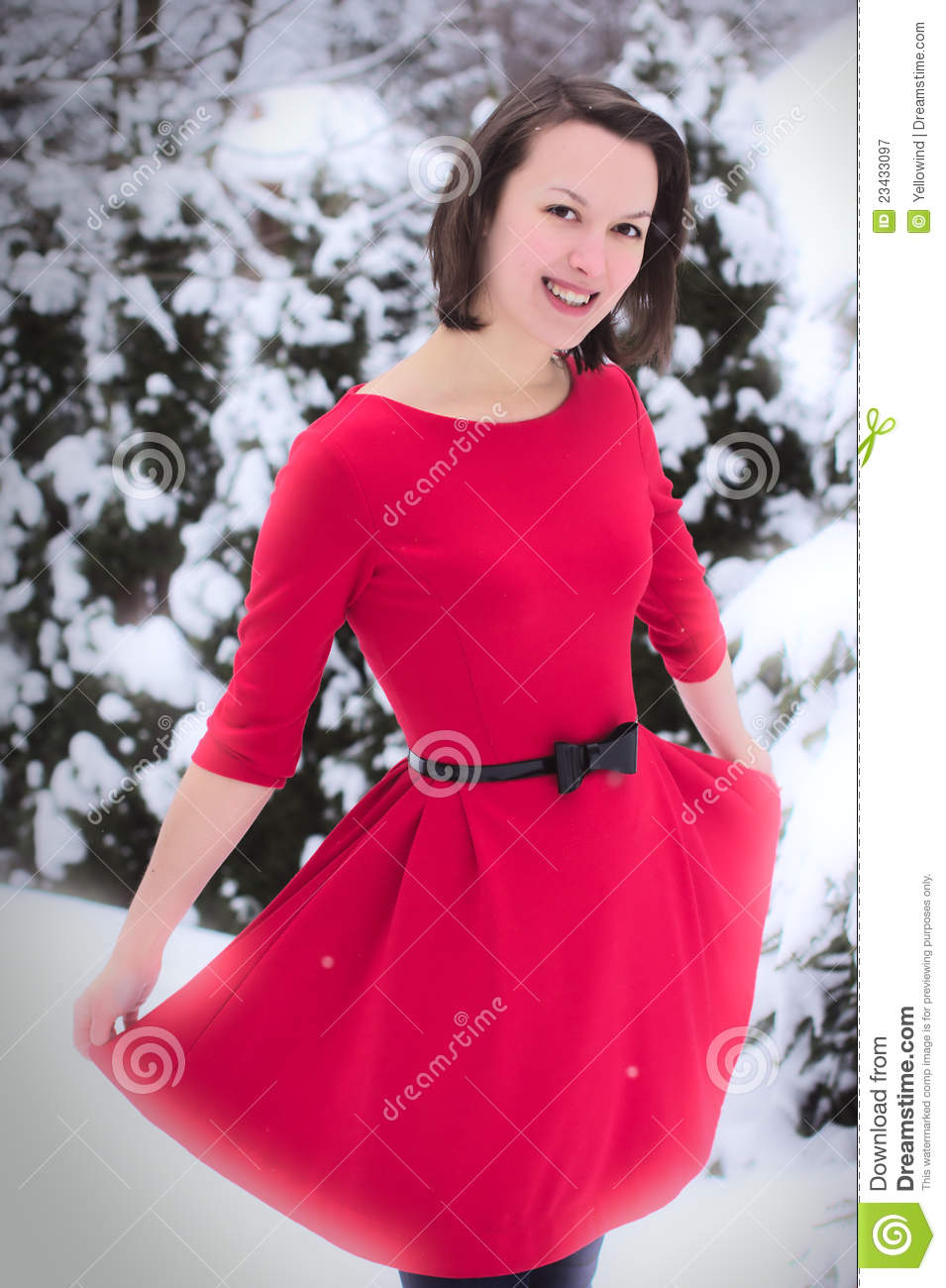 Pretty Woman In Winter With Red Dress Royalty Free Stock ...