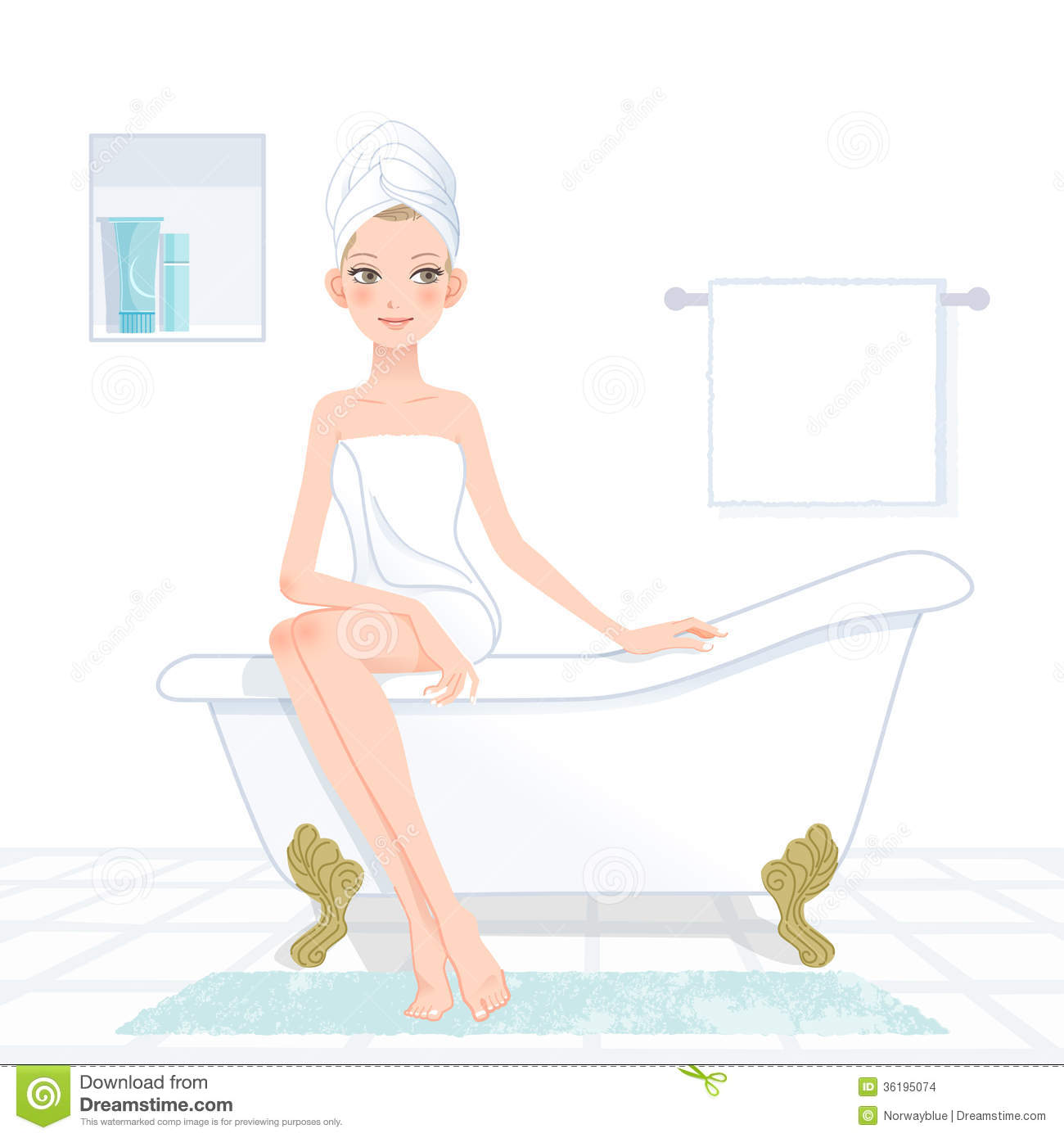 Pretty Woman Wrapped In Towel In Bathroom Stock Vector - Illustration Of Asian, Bath -1314