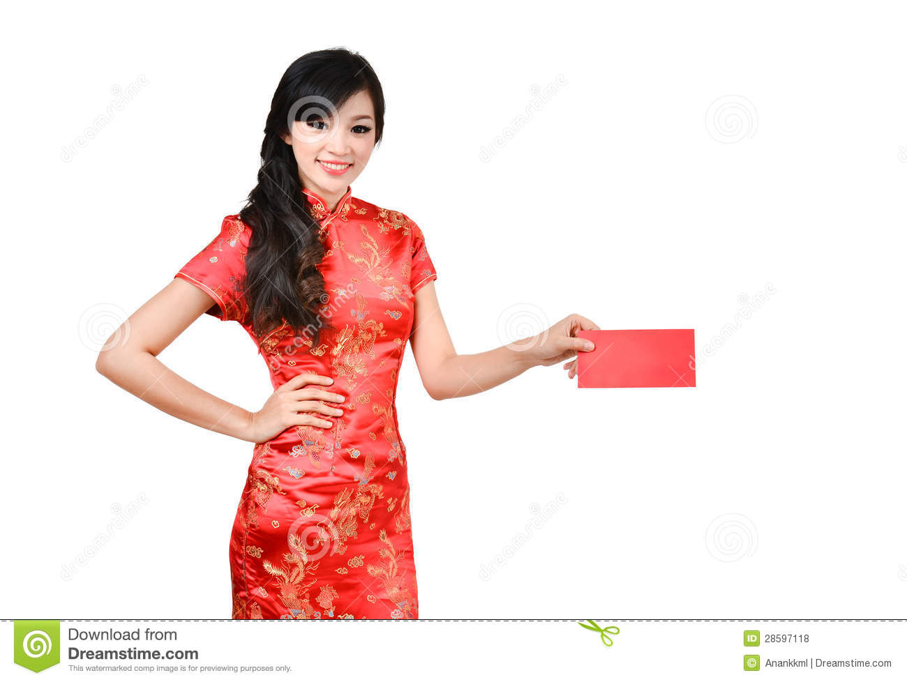 d86f903ee Pretty woman with cheongsam ,In Chinese new year a red packet is a monetary  gift