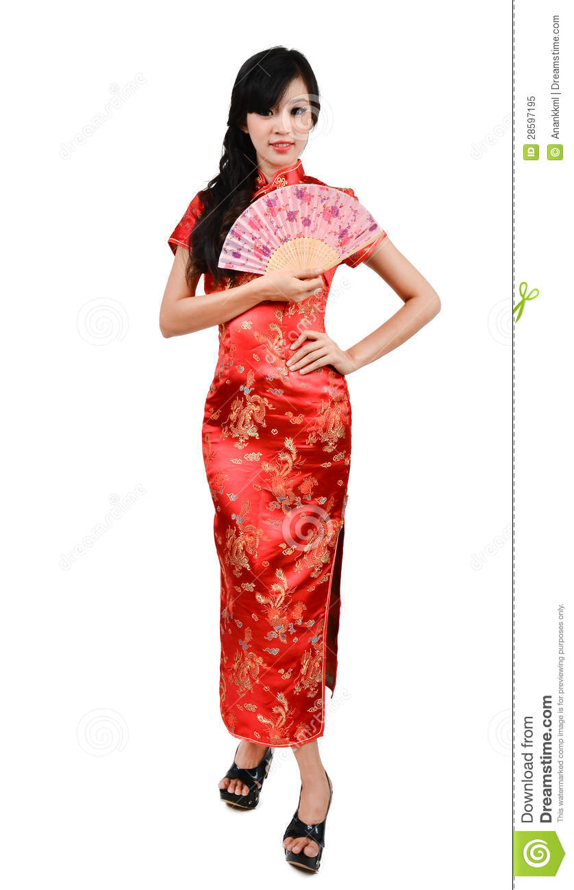 Pretty woman with chinese traditional dress cheongsam and hole chinese