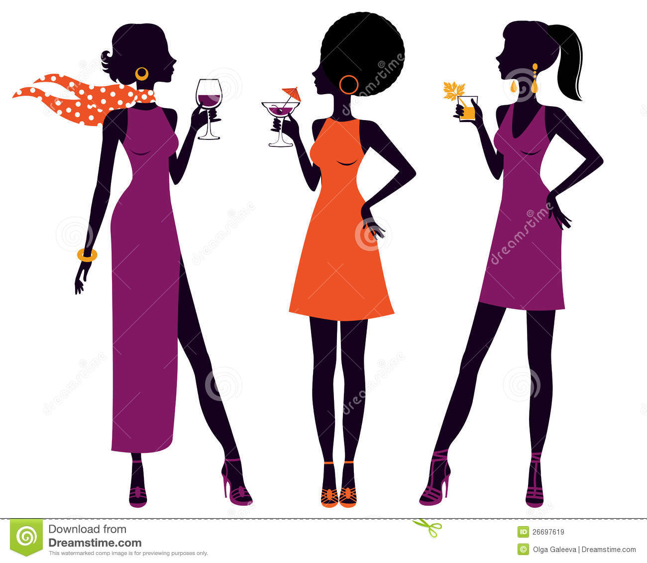 Pretty Women At Cocktail Party Stock Vector