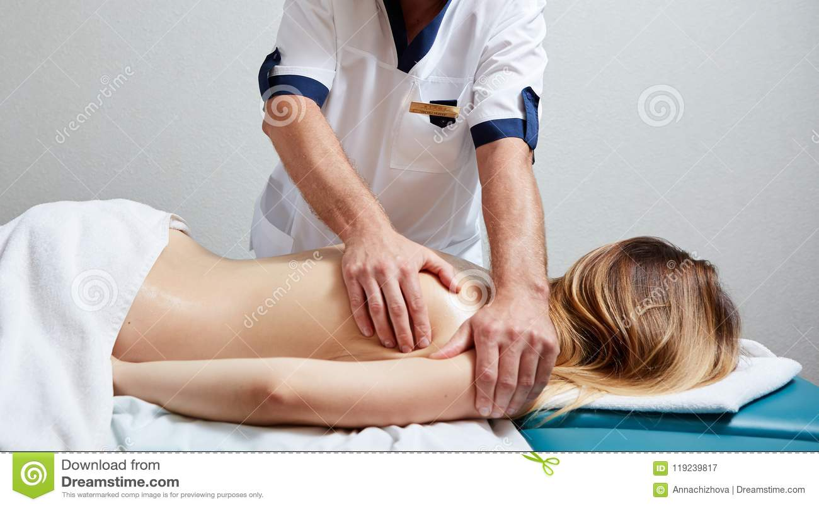 Massage cute male body