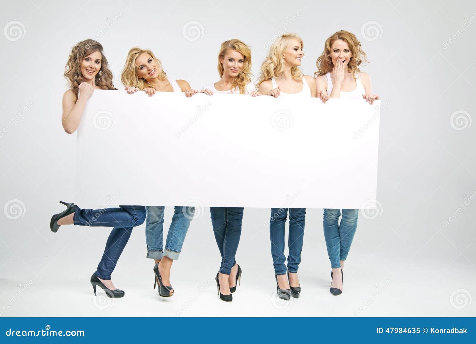 Pretty Women Holding Empty Board Stock Photo Image 47984635