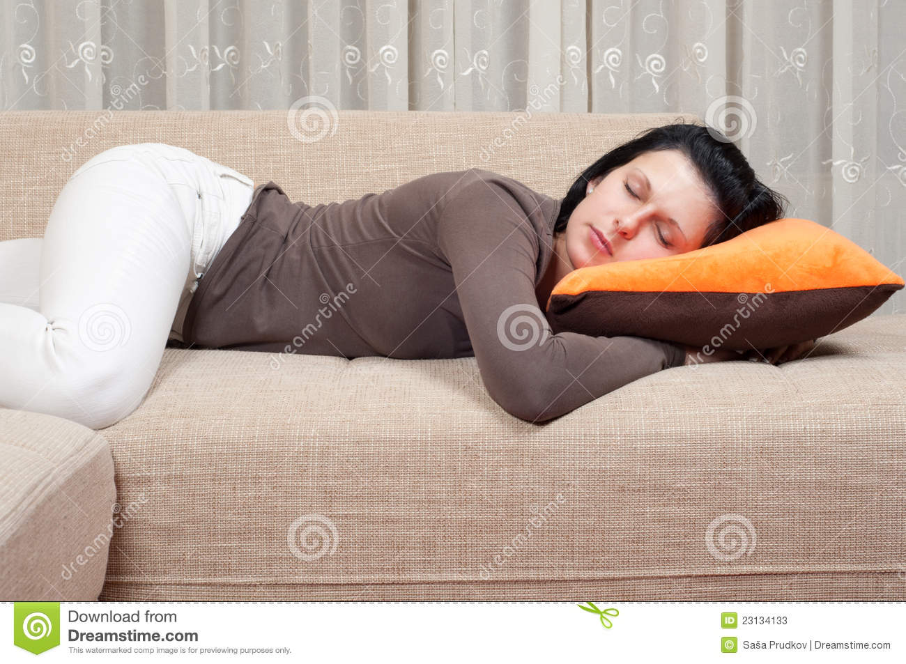 pretty women sleeping on the couch stock photos image. Black Bedroom Furniture Sets. Home Design Ideas