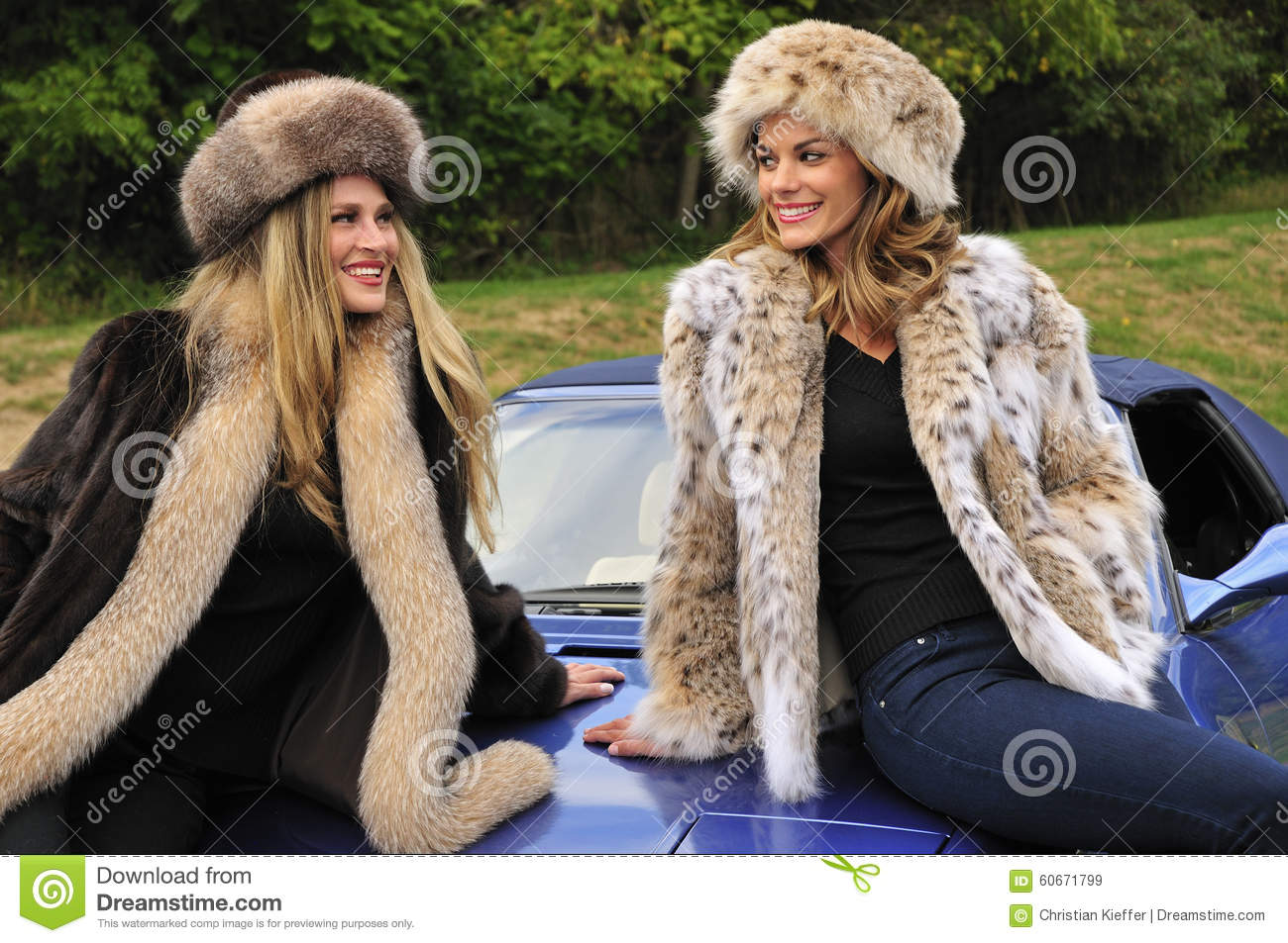 Pretty Women Wearing Winter Fur Coats Stock Photo - Image: 60671799