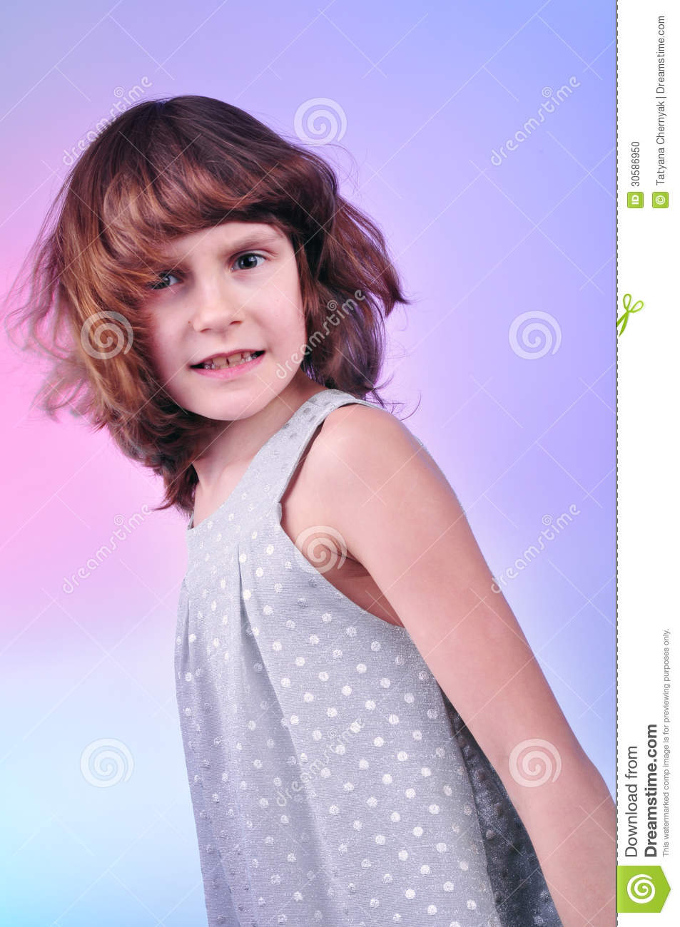Pretty 8 Year Old Girl In Silver Dress Stock Photo Image