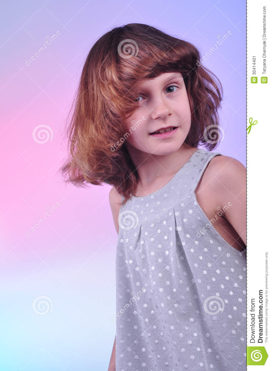 Pretty 8 Year Old Girl In Silver Dress Stock Image Image