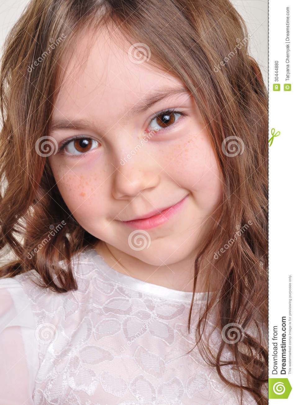 Pretty 8 Year Old Girl In White Dress Stock Photo Image