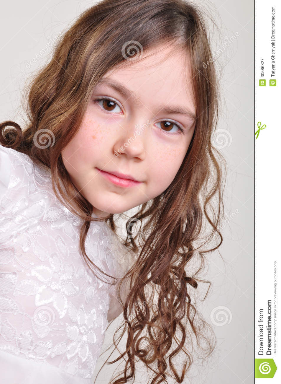 Pretty 8 Year Old Girl In White Dress Royalty Free Stock