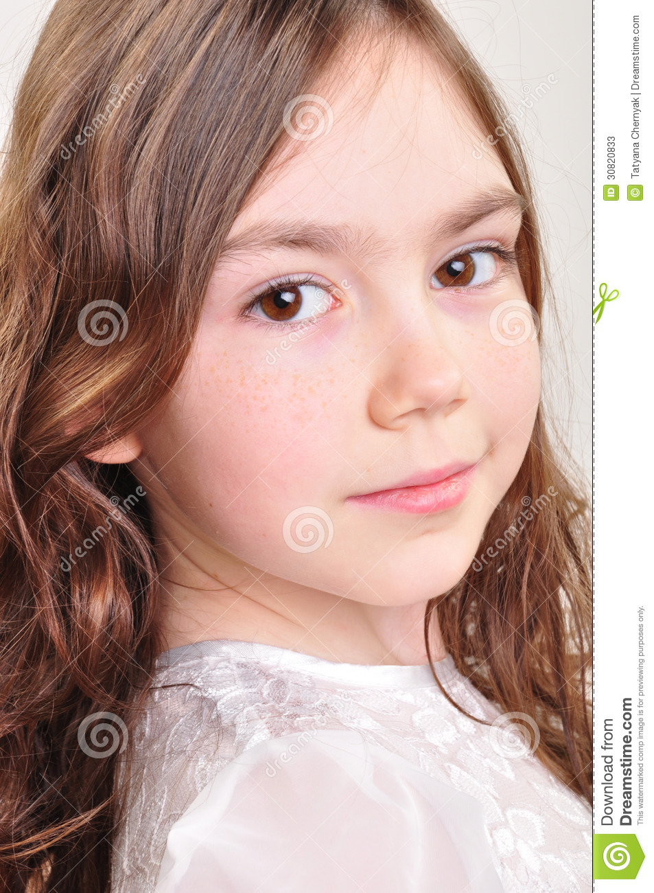 Pretty 8 Year Old Girl In White Dress Stock Photos Image