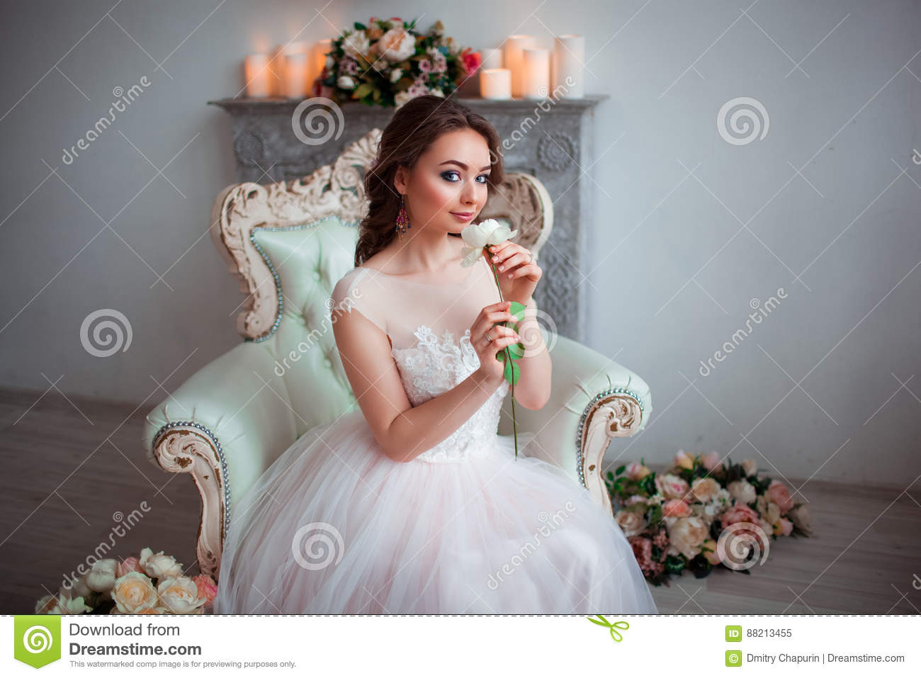 Pretty Young Bride In Pink Wedding Dress Sitting On A Luxurious ...