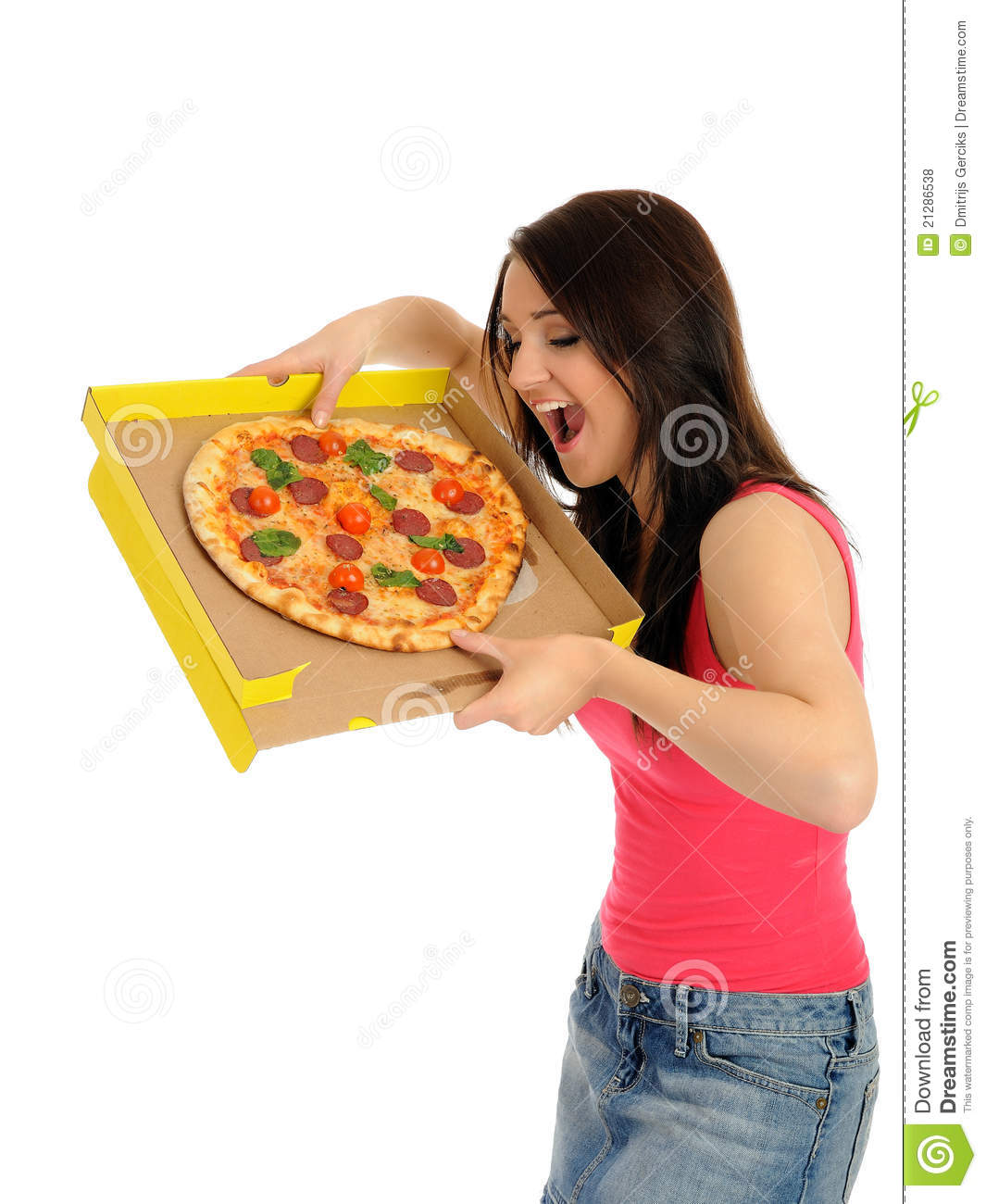 Pretty Young Casual Girl With Tasty Pizza Royalty Free